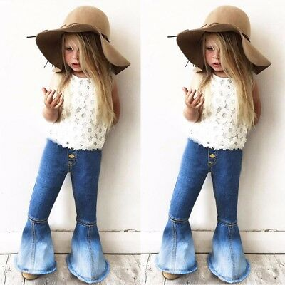 Children Kids Girls Vintage Jeans Splice Bell-bottoms Denim Pants Trousers YU