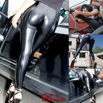 a04a3728723 Women Ladies High Waisted PVC Leather Wet Look Leggings Pants Trousers Plus  Size