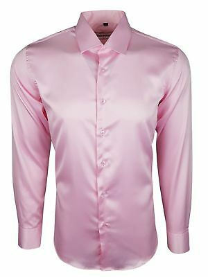 Mens Satin Shirt Wedding Dress Formal Smart Silky Feel Long Sleeves £17.99(422)