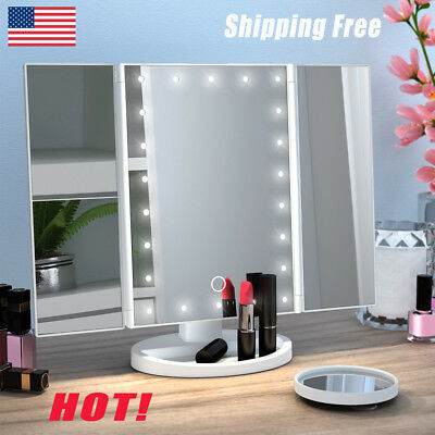 22LED Touch Screen Makeup Mirror Tabletop Lighted Cosmetic 2/3/10x Magnification