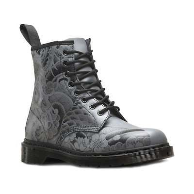 Dr Martens 1460 OT Tattoo Unisex 8-Eyelet Leather Boots Gunmetal Black 86266fd62acb