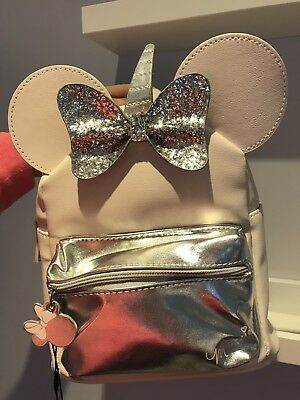 BNWT Disney Primark Minnie Mouse Backpack Bag UNICORN Baby pink and silver bow