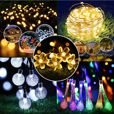 UK LED Solar Fairy Patio Garden Lights String Outdoor Party Wedding Decorations