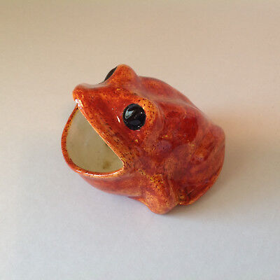 Vintage Ceramic Frog Handmade Alice Edwards 1972 Asahtray? Old Amphibian Display