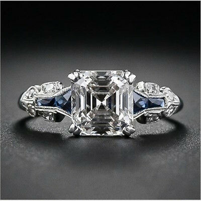 Women Vintage Jewelry 925 Silver Ring Princess Cut White Sapphire Bridal Wedding