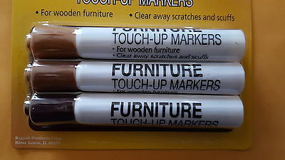 Three (3) Different Brown Darkness Touch-Up Furniture Markers For Scratches