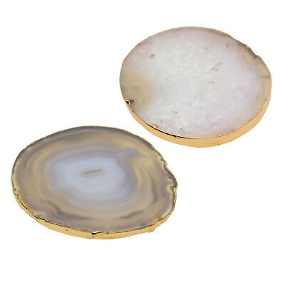 2x Agate Slice Gold Edge Crystal Polished Geode for Home Decors Coaster Cups