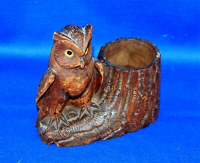 A very well carved owl antique Victorian wooden, desktop pen pot with glass eyes