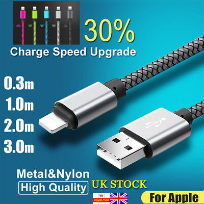 0.3-3m Braided Micro USB Charger Fast Charging Data Sync Cable Lead for iPhone