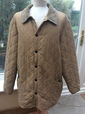Mens BARBOUR CLASSIC ESKDALE Light Brown Long Warm Quilted Jacket Coat  Size XL