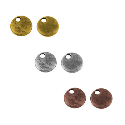 100pcs Vintage Flat Round Tag Pendant Blank Stamping Coin Charm Multi Color 8mm