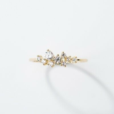 Exquisite Simple cute Gold Plated Sapphire Tiny Thin Ring Wedding Jewelry Sz6-10