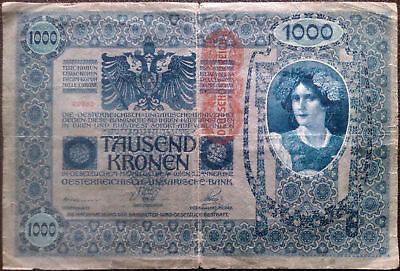 Austro-Hungary banknote - 1000 tausend kronen - year 1902 - woman -free shipping