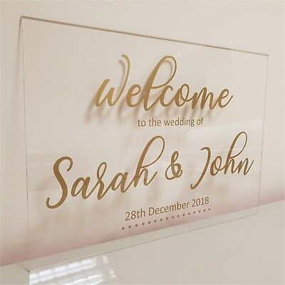 Wedding Sign custom personalised clear acrylic party event married mr & mrs