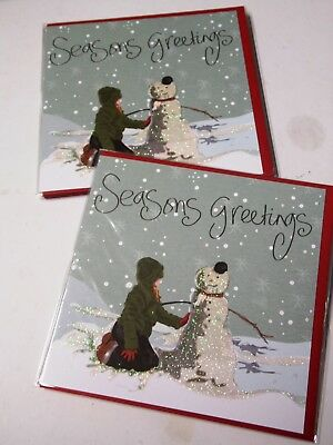 """CHRISTMAS CARDS by CLARE DAVIS X 12, JUST 25p SRP £1.79, 6"""" SQ, WRAPPED, ( B463"""