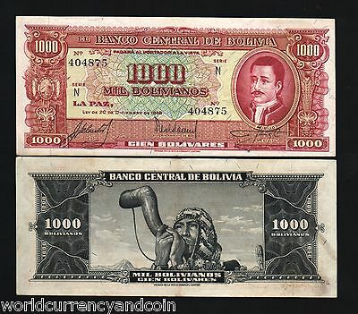 Bolivia 1000 Boliviano P149 1945 Cigar Pipe Murillo Xf/Au Latino Money Bill Note