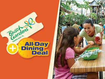 Busch Gardens Tampa 2-Day Ticket + All Day Dining Savings A Promo Discount Tool