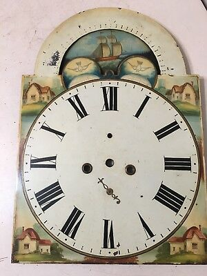 Antique Hand Painted Grandfather Clock Face Dial Seascape Cottage Ship Moon Phas