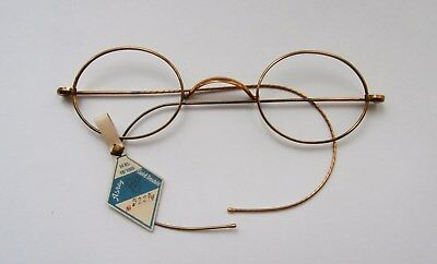 BNIP Vintage 1920's Gold Wire Oval Frame Glasses Spectacles No Lenses