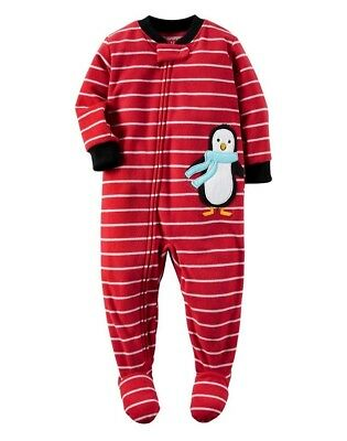 c965277463 Carter s Baby Boy Girl 1Pc Penguin Red Striped Footed Sleeper Fleece Pajamas  12M