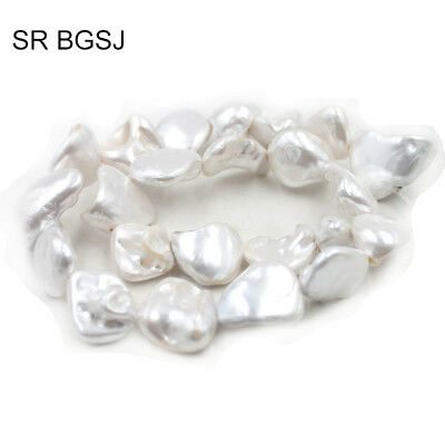 "Jewelry DIY Natural White Freeform MOP Shell OF Pearl Beads Strand 15"" 11-14mm"