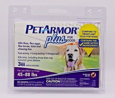 PETARMOR  Plus For Dogs 45-88 lbs - 3 Applications. NEW SEALED.