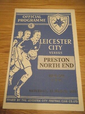 1953 / 1954 LEICESTER v PRESTON NORTH END F A CUP  6th ROUND FOOTBALL PROGRAMME