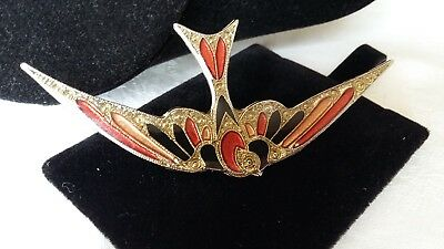 Vintage jewellery goldtone pink and red Pierre Bex style bird brooch