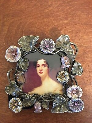 METAL PICTURE FRAME WITH ENAMELED FLOWERS PINK & CLEAR CRYSTALS FOR 3 x 3 PHOTO