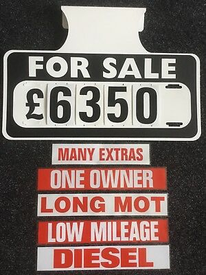 5 X For Sale Visor Price Sets, Car For Sale Signs, Boards, Plus 5 Free Stickers