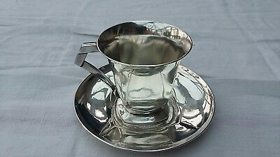 Art Deco French Silver-plated Cup & Saucer Circa 1931-35 Orfevrerie Gallia