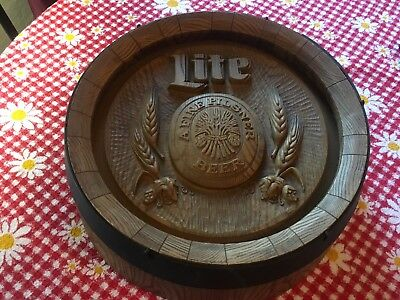 Vintage Miller Lite Keg Sign Wall Hanging Pilsner Beer Barrel Top Bar Decor