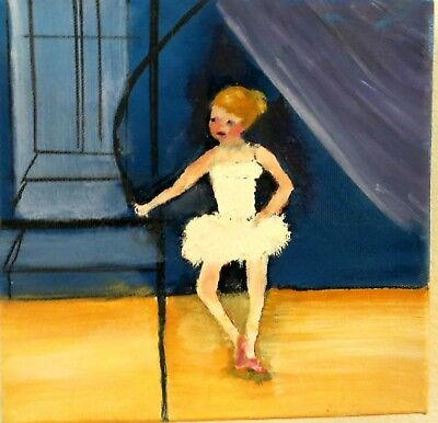 Ballerina Small 8 x 8 Original Oil Painting on Deep Stretched Canvas