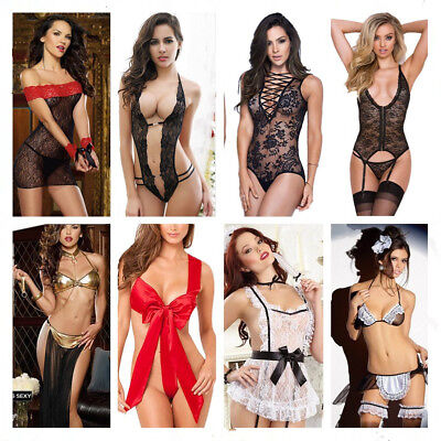 Women Sexy Lingerie Black Lace Dress G-string Underwear Babydoll Sleepwear Sets