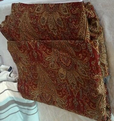 EXC SET 2 Italy PAISLEY tommy hilfiger Curtain Drape Panel Dark RED BROWN Pair
