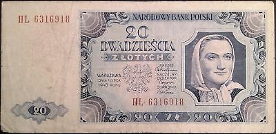 Poland banknote - 20 zlotych - year 1948 - woman with head scarf - free shipping