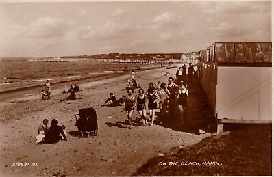 On The Beach, Nairn, Inverness, Scotland : Real Photograph Postcard (1934)