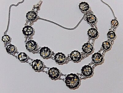 Rare Vtg. Amita Japanese Shakudo Sterling Silver Necklace Bracelet Damascene Set
