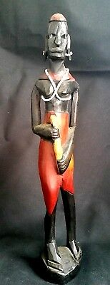 Native Woman Wood Figurine Vintage Tribal Art Hand Carved Stained Aboriginal