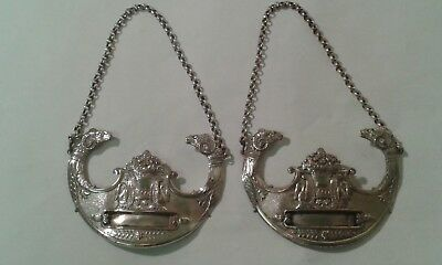 Matching Pair of Continental Silver Plated Decanter Labels, with chains.