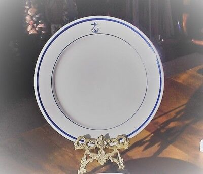 """HOMER LAUGHLIN US Navy Mess Wardroom Ofcr Fouled Anchor 9-5/8"""" BEST CHINA PLATE"""