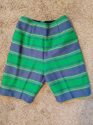 Vintage 1960s Purple & Green Mod Striped High Waist  Shorts Handmade