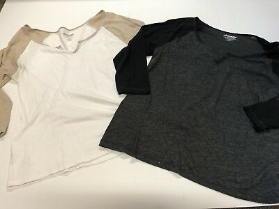 Lot of 2 Old Navy Vintage Teeshirt 3/4 sleeve - White with Cream Gray with Black