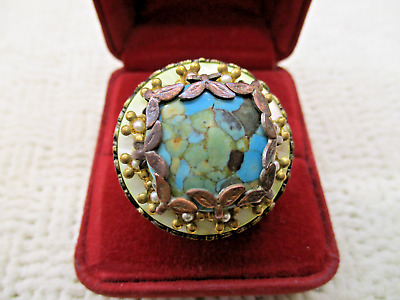 Ollipop Usa Faux Turquoise Ornate Bronze Copper Chunky Big Ring Designer Jewelry
