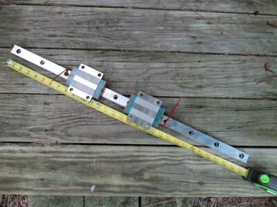 One Hiwin 30mm Rail With 2 Carriage Blocks -- Heavy Duty