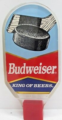 """BUDWEISER 6.5"""" LUCITE 2 Sided """"HOCKEY"""" Beer Tap Handle Anheuser-Busch  AB Bud"""