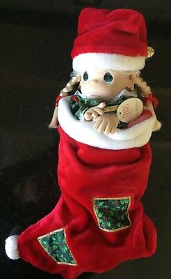 """Precious Moments """"Christmas Eve"""" Vinyl and Cloth Doll in Stocking, 1998"""