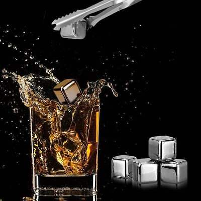 4/6/8pcs/set Stainless Steel Ice Cubes Reusable Whiskey Wine Chilling Stones