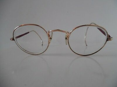 Vintage Gold & Brown ALGHA Oval/Round Eye Glasses with Coiled Arm ends 12KT GF