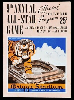 1941 ALL STAR PROGRAM THE 9TH ANNUAL GAME 8x10 TIGERS STADIUM